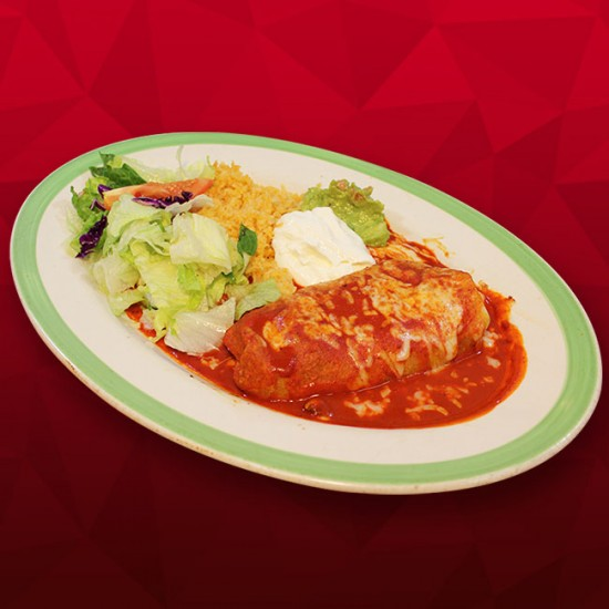 #M Beef Burrito Bathed in Red Sauce